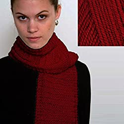 """Beginner's Scarf"" Knit Kit with Encore Worsted Yarn (Cranberry Red)"