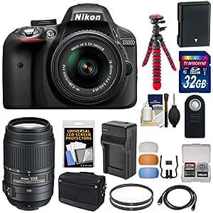 Nikon D3300 Digital SLR Camera & 18-55mm G VR DX II AF-S Zoom Lens (Grey) with 55-300mm VR Lens + 32GB Card + Shoulder Bag + Battery & Charger + Tripod + Kit