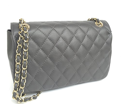in Genuine Quilted Italy Classic Handbag Leather model dark Made Italian Parigi Women's grey SUPERFLYBAGS B1q5Zwxv1