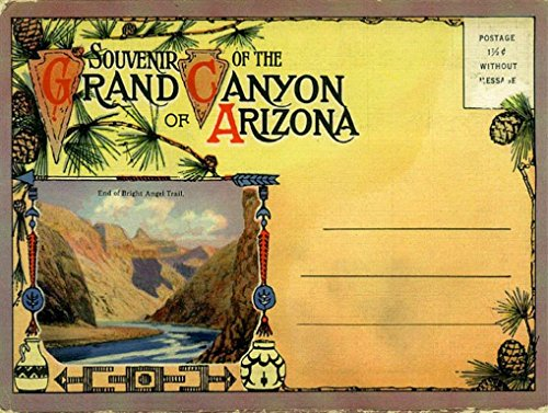 Traditional Trip American Road (Grand Canyon Postcard Sign, Vintage Travel Postcard Highlighting Traditional American Destinations)