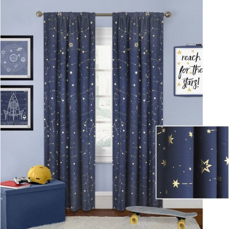 "Better Homes and Gardens Night Sky Gold Metallic Curtain Panel Perfect to any Kind of Room (Navy, 52"" x 63"")"