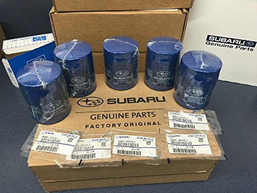 (2011-2017 OEM Subaru Engine Oil Filter & Gasket 15208AA15A Geniuine Impreza Legacy Forester 5 PACK)