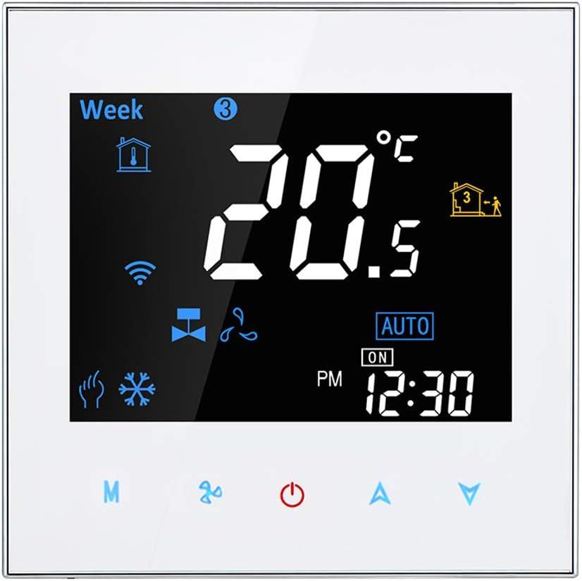 BAC-3000AL, Bianco Ajcoflt Regolatore di Temperatura programmabile Digitale a Due Tubi termostato Ambiente Intelligente per condizionatore dAria