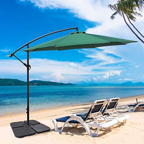 OUTDOOR DIAMOND 10ft Cantilever Patio Offset Hanging Umbrella Table Market Umbrella w/Tilt Crank for Backyard Garden Poolside Lawn Beach Pool Cafe Deck No LED Strip Lights (Green)