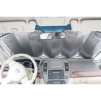 1 X Car Sun Shade Windshield Baby Car Sunshades Foldable Reflective Sun Visor Car Front Rear Blocks Harmful UV Rays with Suction Cup Silver