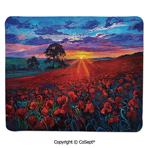 Mouse Pad,Scenery of Poppy Flower Garden on Valley with Horizon and Fairy Clouds at Sunset Paint,Non-Slip Water-Resistant Rubber Base Cloth Computer Mouse Mat (15.74