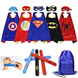 Masbros Kids Dress Up Costumes Cartoon 5 Satin Capes Set with Slap Bracelets Birthday Party Supplies