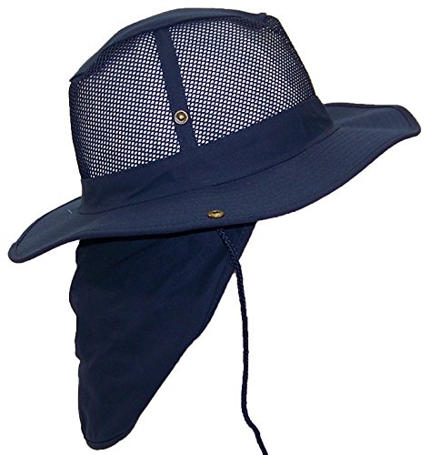 - Tropic Hats Summer Wide Brim Mesh Safari/Outback W/Neck Flap & Snap Up Sides - Navy L
