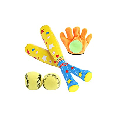 Children Baseball Toy 4Pcs Soft Plastic Baseball Bat Ball Glove Set Baseball Playset Interactive Toy Kids Gift for Birthday Holiday: Toys & Games