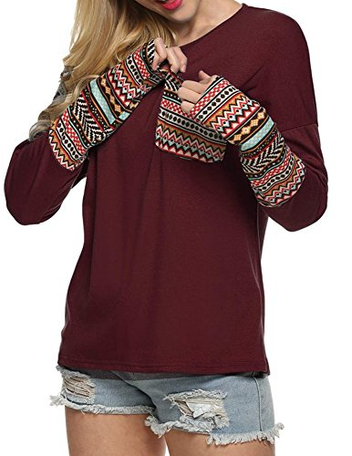 POGT Women Clothes Long Sleeve Fashion T-Shirt (XL, Wine Red) (Black Friday Best Deals 2019)