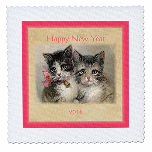 3dRose New Year Designs - Image of Vintage Style 2018 Happy New Year Kittens - 8x8 inch quilt square - Year New Vintage Happy Images
