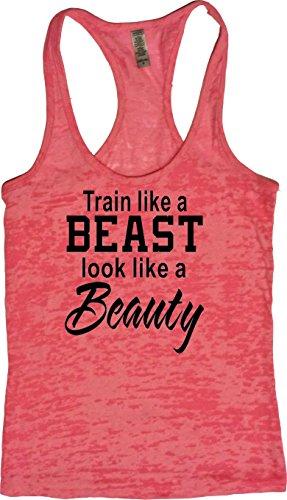 Price comparison product image Orange Arrow Womens Workout Clothing (M, Neon) - Train Like Beast Look Like Beauty - Tanks With Sayings
