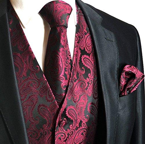 Men's 3pc Paisley Design Dress Vest Tie Handkerchief Set For Suit or Tuxedo (XL (Chest 46), Wine ()