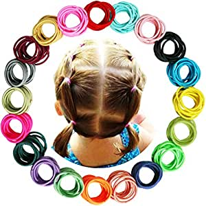 WillingTee 200 Pieces Multicolor Baby Girls Hair Ties Finger Hair Ties No Crease Hair Bands Ponytail Holder for Baby Girls Infants Toddlers