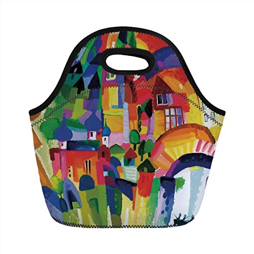 Portable Bento Lunch Bag,Art,Modern Vivid Abstract Architectural Buildings Urban Apartment Houses Village Landmark,Multicolor,for Kids Adult Thermal Insulated Tote Bags