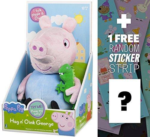 Hug N Oink George   9  Peppa Pig Plush W  Sounds   1 Free Official Peppa Pig Sticker Strip Bundle  927044