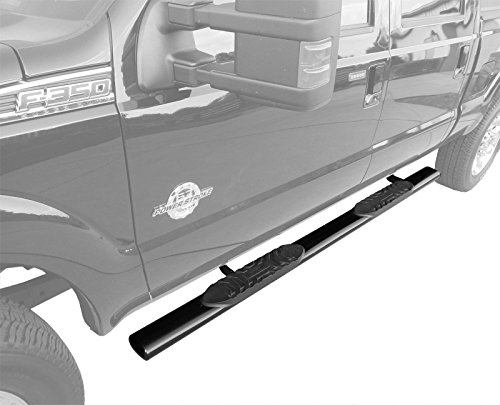 Custom Fit 1999-2016 Ford F250/F350/F450/F550 Super Duty Crew Cab 5inch Black Oval Side Step Rails Nerf Bars Running Boards (2pcs with Mounting Bracket Hardware ()