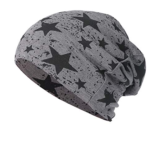 NRUTUP Cold Weather Hats, Full Five-Star Male and Female Five-Pointed Star Knit Hat Pile Cap Ear Protector.(Dark Gray,Free Size) ()