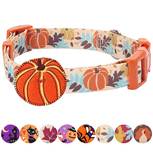 "Blueberry Pet 8 Patterns Thanksgiving Fall Harvest Festival Pumpkin Designer Adjustable Dog Collar with Decoration, Small, Neck 12""-16"""