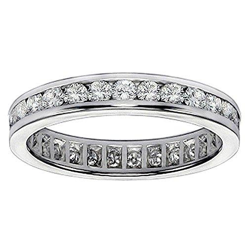 [1.12 CT TW Channel Set Round Diamond Eternity Anniversary Wedding Band Platinum Setting - Size 5] (Si2 Round Diamond Eternity Ring)