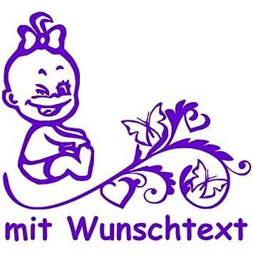 Hoffis Premium Babyaufkleber Mit Name Wunschtext Baby Kinder Autoaufkleber Motiv 1272 16 Cm Farbe Und Schriftart Wählbar Baby