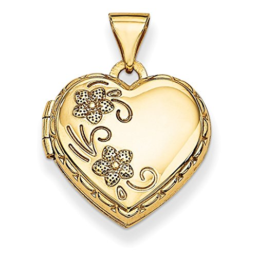 ICE CARATS 14kt Yellow Gold Reversible Heart Photo Pendant Charm Locket Chain Necklace That Holds Pictures Fine Jewelry Ideal Gifts For Women Gift Set From Heart (14kt Gold Reversible Pendant)