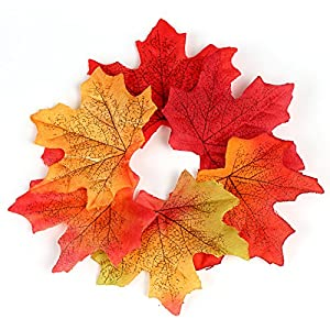 Naler Artificial Maple Leaves, Fall Colored Silk Maple Leaves Autumn Fall Leaves Bulk for Art Scrapbooking, Weddings, Autumn Party, Events and Decorating, 300pcs 5