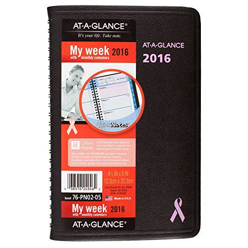 AT-A-GLANCE Weekly / Monthly Appointment Book / Planner 2016, 12 Months, Quick Notes Breast Cancer Awareness, 4.88 x 8 Inch Page Size (76PN0205)