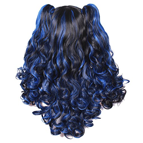 Rainbow Color ColorGround Long Curly Cosplay Wig with 2 Ponytails