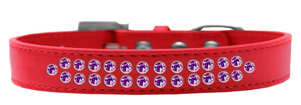 Mirage Pet Products Two Row Purple Crystal Red Dog Collar, Size 20 by Mirage Pet Products