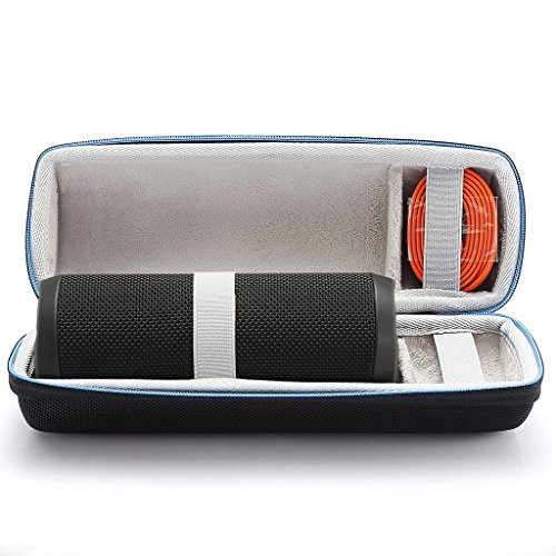 For JBL Flip 4 / JBL Flip 3 Wireless Bluetooth Portable Speaker Hard Case Travel Carrying Storage Bag. Fits USB Cable and Wall Charger-Black