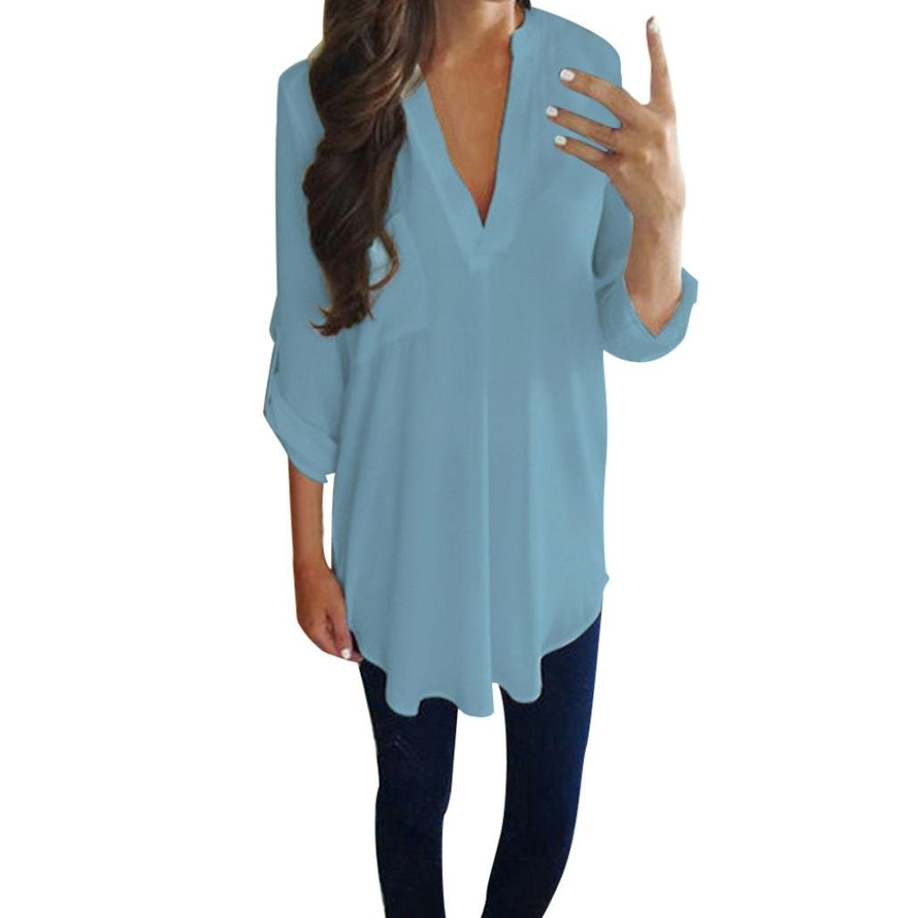 Lazzboy Women Ladies Chiffon V Neck Long Sleeve Solid Pockets T Shirt Blouse Tops