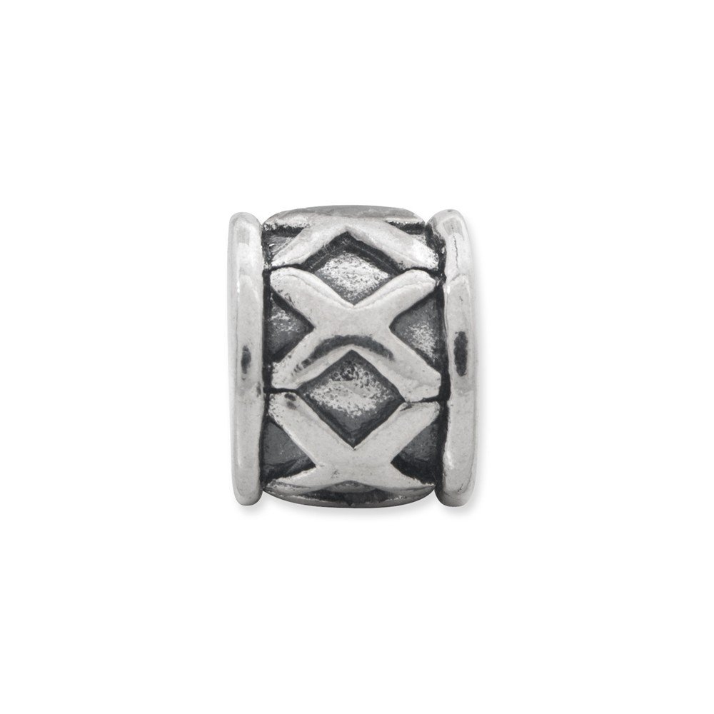 Solid 925 Sterling Silver Reflections X Bali Bead 5.5mm x 8.2mm