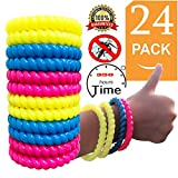 Mosquito Repellent Bracelets,24 Pack 100% Natural Best Bug Insect Band Non-Toxic & Water-Proof, 300 Hrs Safe Protection Insect Control for Kids Adults Outdoor Camping Traveling (24)