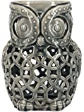 True Grit Fine Ceramic Vintage Style Pillar Decorative Candlestick Holder, Owl, Grey