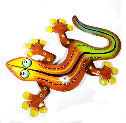 Orange Red Yellow Gecko Lizard Metal Garden Lanai Art Tropical Island Wall Art ()
