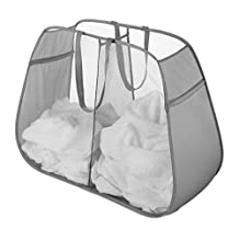 Whitmor 6880-4103-PGRAY Pop and Fold Double Hamper, Paloma Gray