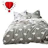 BuLuTu Cloud Print Kids Bedding Sets Queen Grey White 100% Cotton,Premium Reversible Teen Duvet Cover Set Full Gray for Boys Girls Adults Zipper Closure,Lightweight,Soft,Breathable,No Comforter