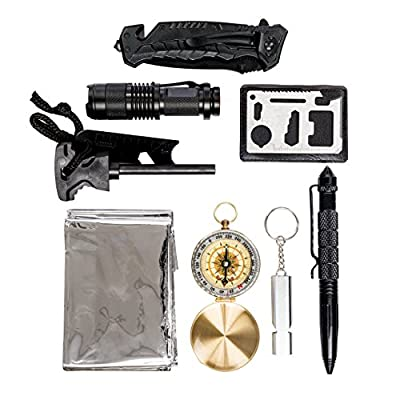 Global Tactical Gear Survival Kit, Emergency Wilderness Tools with Heavy Duty Professional Knife, Adventure Compass and Emergency Blanket Essential Gear for EDC, Camping, Hiking and Outdoor Survival