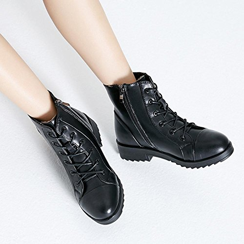 Shoelace Casual 36 Low Thicker Shoes Plush BLACK Flat Martin Zipper Leather Short Warm Heel Female Boots 7Fftw4qq