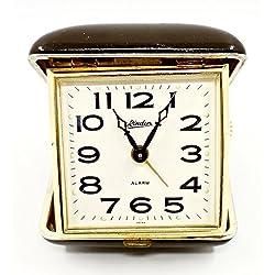Linden Vintage Travel Alarm Clock,Brown Leather Case,Wind-up Key,Japan