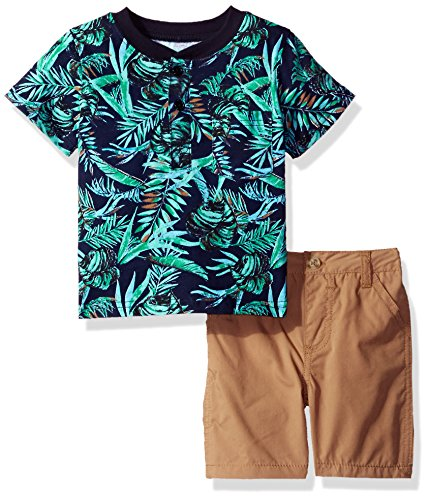 Nannette Baby Boys 2 Piece Woven Short and Henley Tee Set