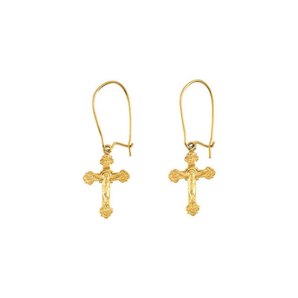 14k Yellow Gold Crucifix Dangle Earring