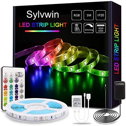 Sylvwin Ruban LED, Bande LED 5m RGB avec Télécommande,5050 Bandes LED Lumineuse avec 16 Changements de Couleur,4 Modes pour Maison,Chambre,Télévision,Décoration D'armoire,Fête