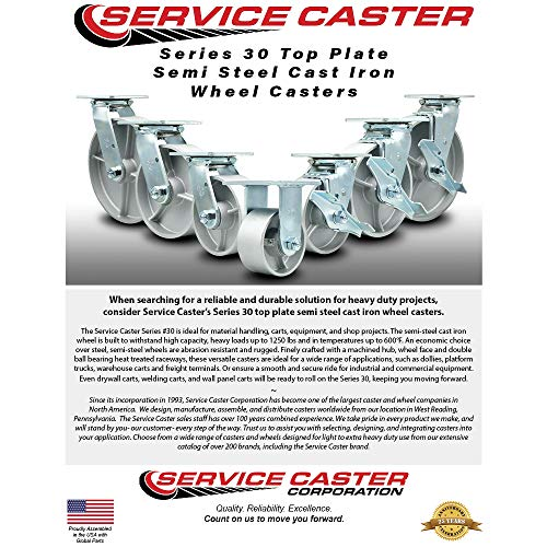 Service Caster - 6'' x 2'' Semi Steel Cast Iron Wheel Caster Set - Swivel Casters w/Brakes - 4,800 lbs Total Capacity - Set of 4 by Service Caster (Image #2)