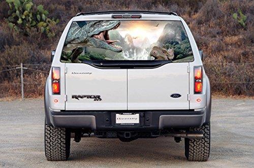 DINOSAURS Car Rear Window Graphic See-Through Decal Sticker Truck SUV Van 013, Custom