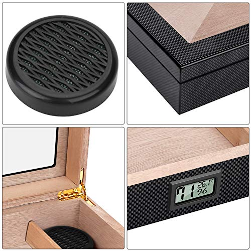 Cigar Humidor Carbon Fiber Cigar Humidor High Gloss Lacquer Handcrafted Cedar Cigar Desktop Box with Front Digital Hygrometer and Humidifier, Glass Top for 20-25 Cigars by Bald Eagle (Image #4)