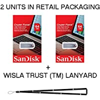 Sandisk Cruzer Force 64GB SDCZ71-064G - 2 Pack In Retail Packaging Flash USB Drive Jump Drive Pen Drive + Wisla Trust (TM) Lanyard