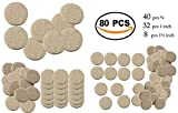 Bulfyss 80Pcs Self Sticking Round Felt Pads Non Skid Floor Protector Furniture Pad Noise Insulation Pad Floor Bumper, Beige