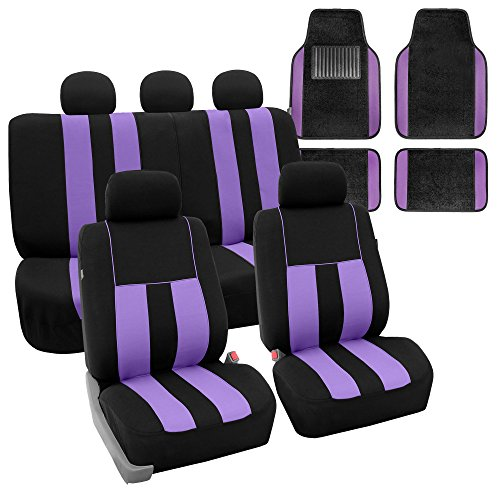 FH GROUP FH-FB036115 + F14407 Combo Set: Striking Striped Seat Covers with Premium Carpet Floor Mats Purple / Black Color- Fit Most Car, Truck, Suv, or Van